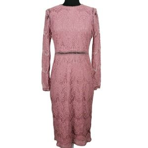 Love by Design Dress Lace Lined Pink Sheer Sleeve